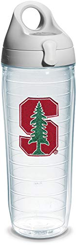 Tervis Stanford University Emblem Individual Water Bottle with Gray Lid, 24 oz, Clear -
