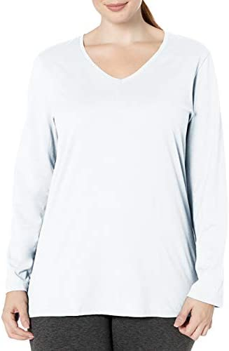 Just My Size Women s Plus Size Vneck Long Sleeve Tee White 4X product image