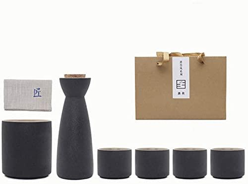 LCJD Juego de Taza de Sake de cerámica Negra de Estilo japonés para Envoltorio de Regalo de Fiesta de té, 7 Piezas