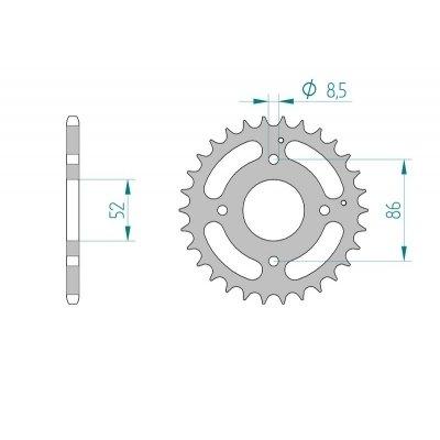AFAM Kettenrad Stahl Teilung 520 Zähne 31 für Kymco MXU 50 AC, A10030, Bj. 2011 / Teilung: 520 / Stahl / Lochkreis: 52mm / Schrauben: 4x8,5mm / Innendurchmesser: 86mm
