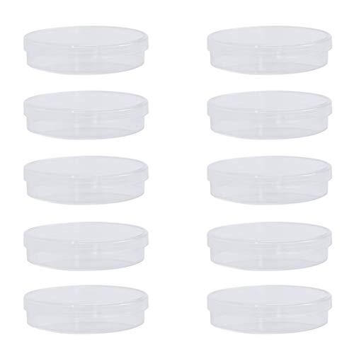UEETEK 10pcs Kunststoff Petrischalen Sterile Bakterienkultur Schüssel mit Deckel 70 mm * 15 mm