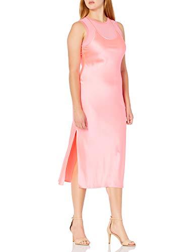 Armani Exchange A|X Damen Sleeveless Satin Double Layer Midi Dress Freizeitkleidung, Rosenquarz, 34