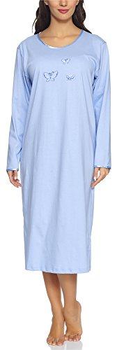 Merry Style Camisón Ropa de Cama Vestidos de Casa Manga Larga Mujer 91LW1 (Azul (Manga Larga), XL)