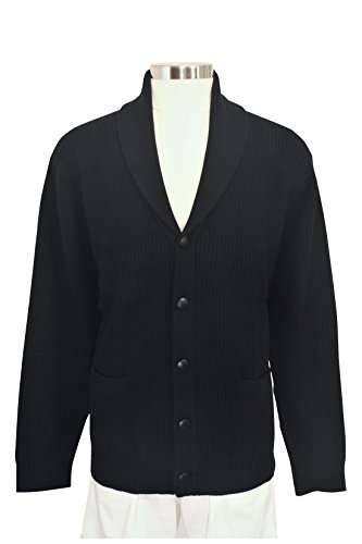 Shephe 4 Ply Men's Cashmere Shawl Collar Cardigan Sweater Black XXX-Large