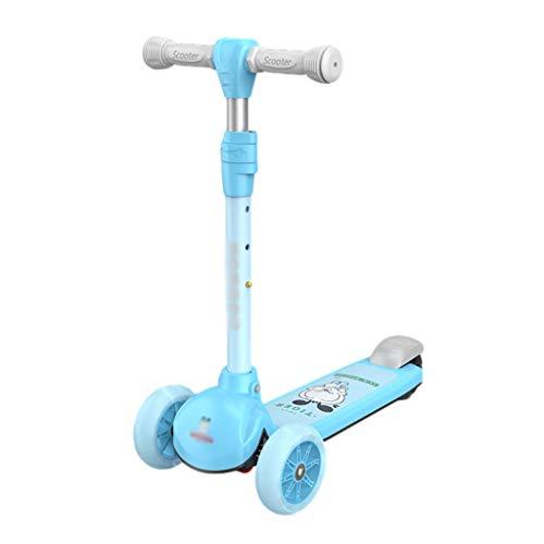 ZZL Stunt Scooters - Patinete para niños de 2 a 12 años, altura ajustable, plegable, ruedas de poliuretano intermitentes, se inclinan para dirigir el patín (color azul)