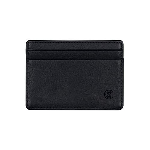 Slim Card Case Genuine Leather Card Holder Wallet Minimalist RFID Blocking ID Holder Credit Card Case (2.85 x 4 inches, 5 - Pocket Black) for Men and Women by Zion & Co.