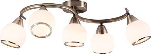 Elegante plafondlamp antiek messing opaal met ring - Globo MISTRAL 54701-5