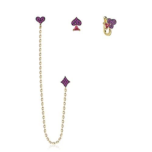GXFNS - Set di 3 orecchini da donna a forma di cuore, con cristalli pendenti, ideali come regalo da donna, per feste, matrimoni, colore: viola
