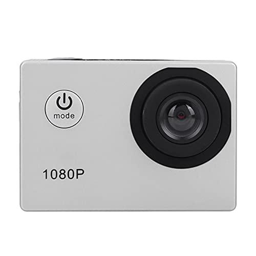 Videocamera d'azione HD 1080P, videocamera Sportiva Impermeabile con Schermo LCD da 2 Pollici con Obiettivo grandangolare 140 ° per videocamera Subacquea Impermeabile 30M(Argento)
