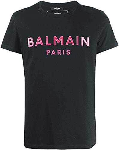 Balmain SS2020 Luxus-T-Shirt für Herren, Schwarz, mit rosa Logo, Schwarz Large