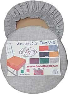 EGIDIOSRL Cuscini coprisedia Rotondo con Fascia Elastica, Set 4 PCS, Colori: Grigio, Beige, Tortora, Bordeaux, Giallo, Verde, Blu, Marrone, e Arancione (Colore da indicare con email)
