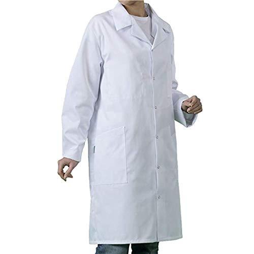 Riou Bata de Laboratorio Blanco Uniformes de Trabajo Mejora médico Abrigo Blanco para Mujer y Hombres Adecuado para Estudiantes Escuela Laboratorio Enfermera Cosplay Vestido