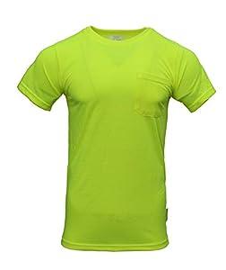 NY Hi-Viz Workwear S3110 Short Sleeve High-Visibility Force Color Enhanced Safety Shirt (Medium, Neon Yellow)