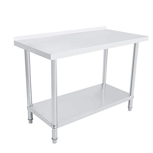 Gotopop, tavolo da picnic in acciaio inox resistente a doppio strato con piattaforma paraspruzzi per la preparazione del cibo, ripiano da cucina e catering., Acciaio inossidabile, In metallo., 4X2FT