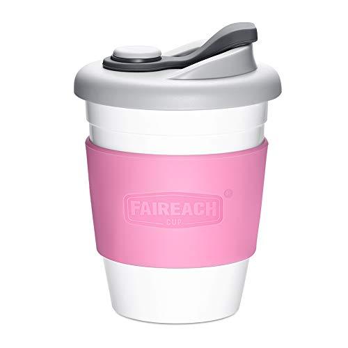 Faireach Coffee to Go Becher 340ml / 12oz, Mehrweg Kaffeebecher mit Deckel für Kaffee & Tee, Eco Reisebecher Cafe, BPA-frei, Spülmaschinenfest & Mikrowellengeeignet, Rosa
