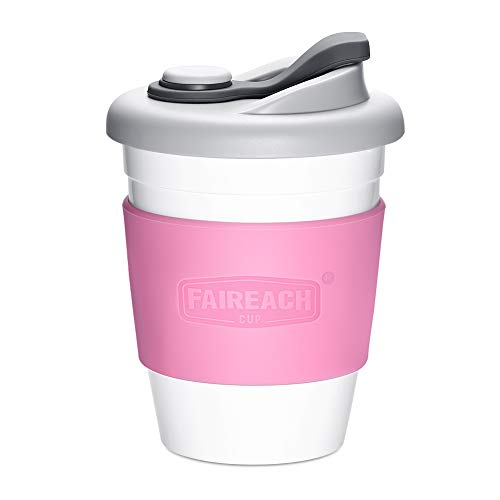 Taza de Café para llevar con Tapa, Mug Café Reutilizable con Manga Antideslizante, Coffee To Go Ecológica de Viaje con sin BPA, Vasos de Café apto para Lavavajillas y Microondas, 340ml (12 oz)