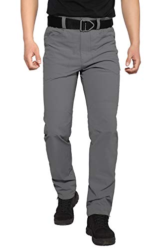 Hiauspor Men's Hiking Pants Outdoor Lightweight Quick Dry Pant for Travel Camping Fishing Silver
