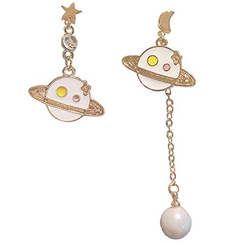 Hanone Pendientes Colgantes Lunares Planeta Asimétrico Estrella-Luna Pendientes Colgantes Largos Oro Blanco