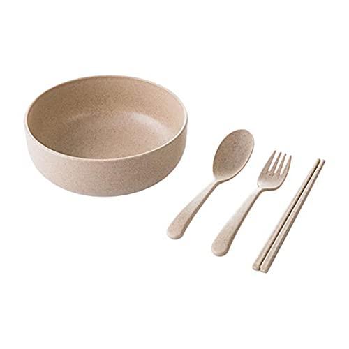 LOKIH Cuencos De Paja De Trigo,Cuencos De Cereal Irrompibles, Saludables, Aptos para Lavavajillas, Microondas,Reutilizables,Beige