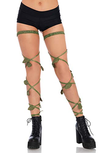 Leg Avenue Women's Festival Garter Leg Wraps, Green, One Size