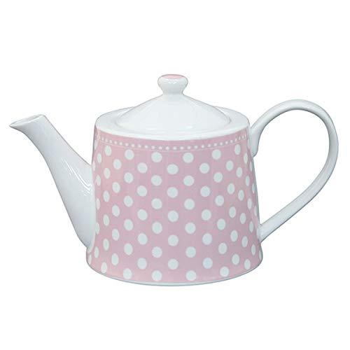 Krasilnikoff - Teekanne - rosa - weiße Punkte - 1 l