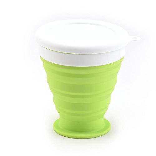 Taza plegable de silicona Creativa Portátil Mini Leche Retráctil Té Taza de café Bts y estilo simple Productos para el hogar de color puro-verde