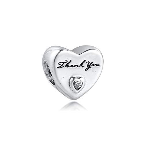 Joyería De Plata De Ley 925 para Mujer Cuentas De Abalorios De Corazón De Agradecimiento Que Se Adaptan A Pulseras Pandora Europeas Collares Fabricación De Joyas DIY