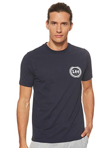 Lee Emblem tee Camiseta, Azul (Sky Captain Hy), Medium para Hombre