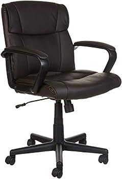 AmazonBasics Leather-Padded Ergonomic Swivel Office Desk Chair
