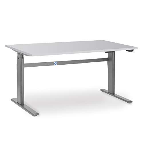 Elektrisch höhenverstellbarer Schreibtisch 180 x 80 cm Lichtgrau | höhenverstellbar von 700-1.170 mm | Arbeitstisch Produktionstisch Bürotisch hauseigene Fertigung | hochwertige Qualität