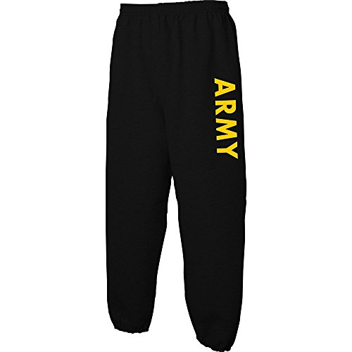 Lucky Ride Military Gear Black Army Sweat Pants with Gold Print, Small