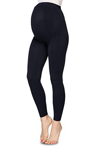 Annes Styling Damen Umstands-Leggings mit Überbauchunterstützung, volle Länge, 90 DEN, Nero, Größe L/XL