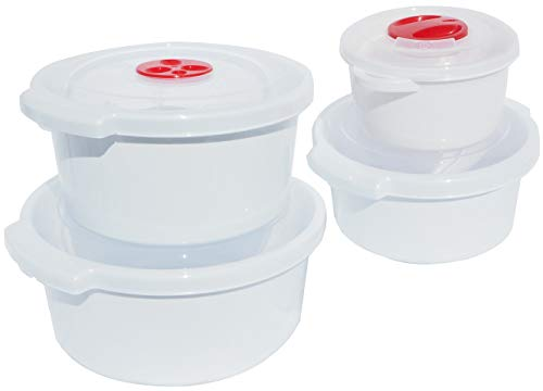 Home Line Mikrowellengeschirr Set 4-tlg - Mikrowellen-Topf 0,5L / 1L / 2L / 3L - für Mikrowelle Spülmaschine Gefrierschrank geeignet -20 bis 100°C
