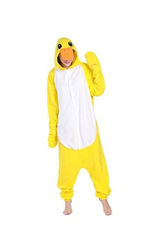 dressfan Onesie Adult Unisex Tier Onesie gelbe Ente Halloween Kostüm Cosplay Weihnachten Kostüm