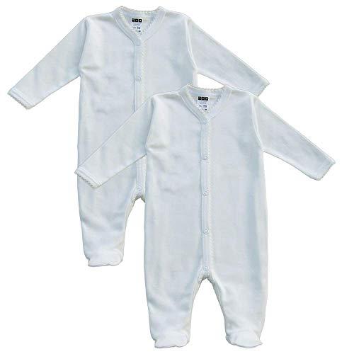 MEA BABY Unisex Baby Schlafstrampler aus 100% Bio-Baumwolle im 2er Pack. Schlafstrampler Weiß (Creme), Schlafstrampler für Junge, Strampler für Mädchen. (62)