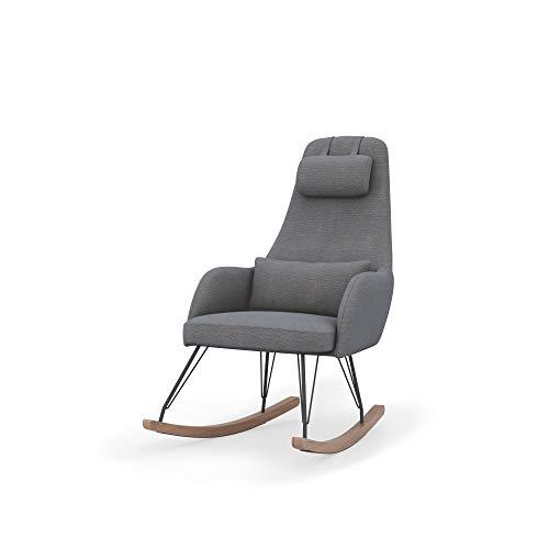 dadada Weeble Rocking Chair – Waterproof Fabric, Ergonomic Design Ideal for Nursery – Modern, Easy-to-Assemble, Dark Gray (Fog)