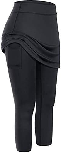 DFGJ Women Tennis Skirted Leggings Pockets Elastic Sports Yoga Pants Capris Skirts Legging Black product image