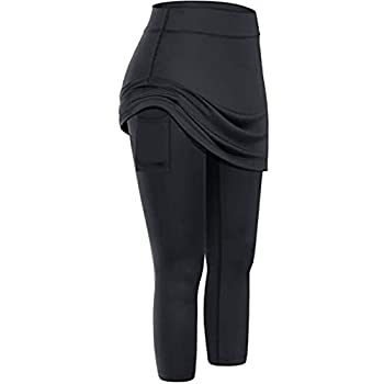 DFGJ Women Tennis Skirted Leggings Pockets Elastic Sports Yoga Pants Capris Skirts Legging Black