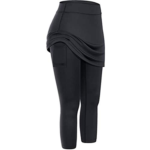 YINGXIONG Damen Leggings mit Rock Freizeit Yoga Sporthose Yoga Rock Laufhose Stretchhose Hohe Taille mit Taschen Golf Tennisröcke Sportswear für Damen