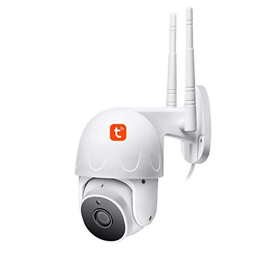 Tuya WIFI Cámara IP, cámara de video de seguridad PTZ con domo de velocidad de seguimiento automático al aire libre, vigilancia CCTV de visión nocturna 1080P,Camera + 32g card