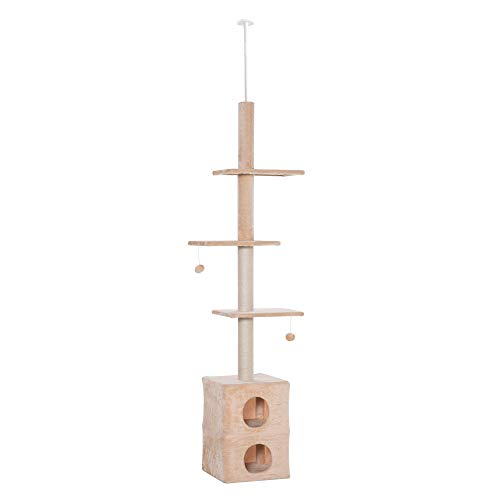 Pawhut Tiragraffi a Soffitto Multilivello 210-240cm Palestra per Gatti con Cucce, Piattaforme e Corde in Juta, Giallo