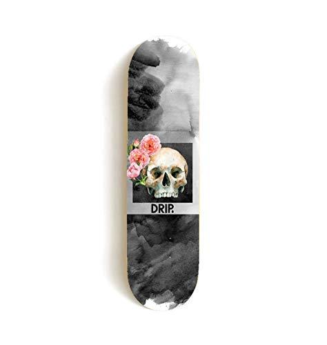 DRIP Skateboards - Rose Skull Skateboard Deck (versch. Breiten) + Griptape & Sticker/Hochwertiger Canadian Maple! 7.75