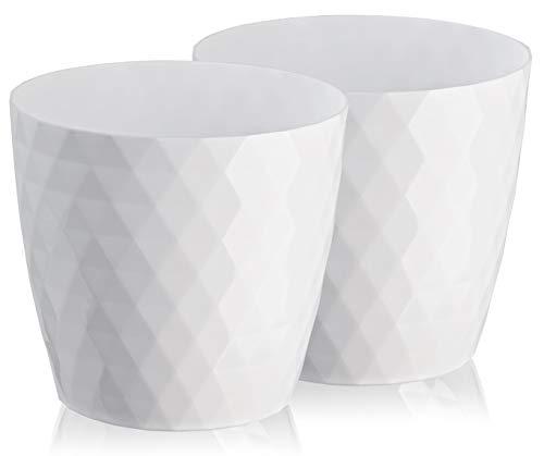 Set di 2 vasi da fiori in plastica, lucidi, leggeri, decorativi, moderni, rotondi, per interni ed esterni, 16 cm, colore: bianco