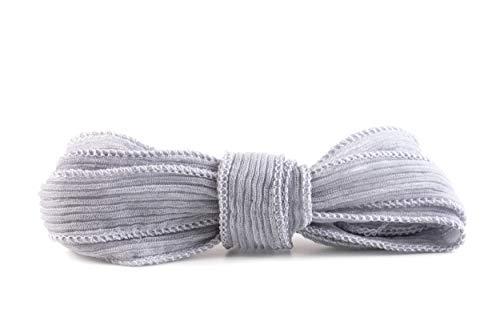 nice 4u Handgenähtes und -gefärbtes Seidenband Crinkle Crêpe Hellgrau 20mm breit 100% Reine Seide 1m