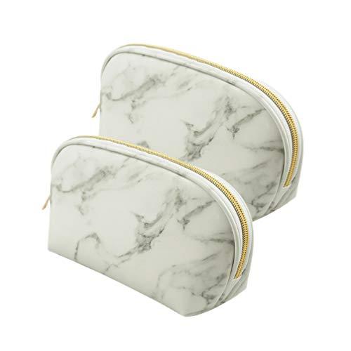 Minkissy 2pcs composent des sacs marbrure sac cosmétique grande capacité portable sac de lavage voyage cosmétiques sacs brosse pochette