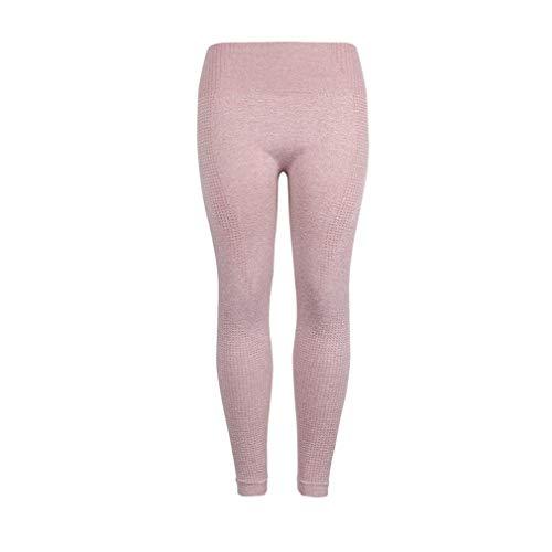Naadloze yogabroek Europese en Amerikaanse legging Heupen Vochtafvoerende zweetbroek Fitness gebreide panty (S roze)