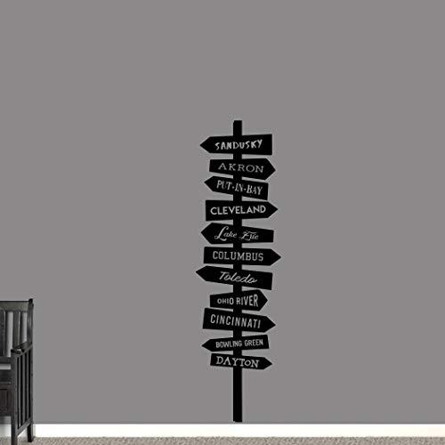 Vinilo adhesivo para pared con diseño de puntos calientes de Ohio, para la entrada de la familia y la sala de estar, para viajes y mapas, para pared extraíble, 101,6 cm
