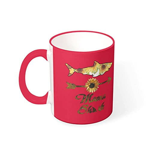 OwlOwlfan Shark Awesome Mom - Taza de cerámica personalizada con mango para café, bar, cumpleaños, festival, regalo para mujeres y hombres rojos, 330 ml