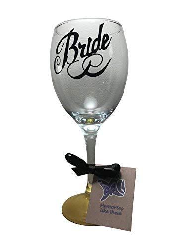 Memories-Like-These UK Bride Verre à vin 340 ML Noir Script Base dorée