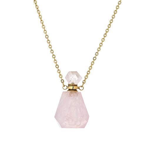 Plumiss Rose Quartz Pendant Necklace Natural Stone Perfume Bottle Aromatherapy Essential Oil Diffuser Locket Necklace